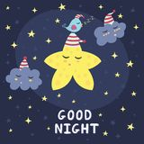Cartão da boa noite com uma estrela bonito, as nuvens e um pássaro Imagem de Stock