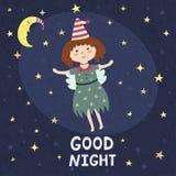 Cartão da boa noite com uma fada bonito Fotos de Stock Royalty Free