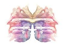 Cartão da borboleta do teste da mancha de tinta do rorschach Mancha azul, violeta, roxa, cor-de-rosa, vermelha e marrom da pintur fotografia de stock