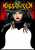 Cartão da bruxa de Dia das Bruxas ilustração do vetor