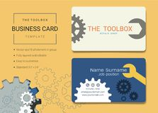 Cartão da caixa de ferramentas ou molde do cartão de nome ilustração royalty free