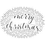 Cartão da caligrafia do Feliz Natal com sunburst do vintage fotos de stock royalty free