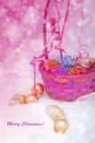 Cartão da cesta do Natal Foto de Stock