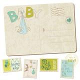Cartão da chegada do bebé do vintage Fotos de Stock