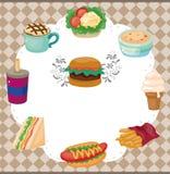 Cartão da comida rápida dos desenhos animados Imagem de Stock Royalty Free