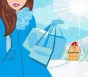 Cartão da compra do inverno ilustração stock