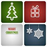Cartão da decoração do Natal feito do Livro Branco Fotos de Stock