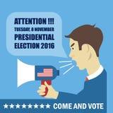 Cartão 2016 da eleição dos EUA com um caráter com o megafone que dá detalhes para vir e votar ilustração royalty free