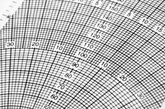 Cartão da escala no computador de vôo imagens de stock