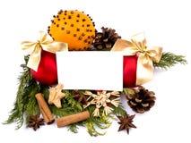 Cartão da esfera do Natal, o alaranjado e o branco de nota Fotografia de Stock Royalty Free