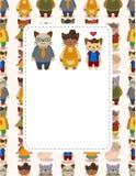 Cartão da família de gato dos desenhos animados Fotos de Stock Royalty Free