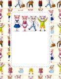 Cartão da família de gato dos desenhos animados Imagens de Stock Royalty Free