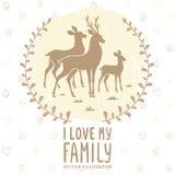 Cartão da família dos cervos Foto de Stock Royalty Free