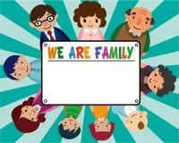 Cartão da família dos desenhos animados ilustração do vetor
