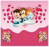Cartão da família dos desenhos animados Fotos de Stock