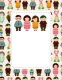 Cartão da família dos desenhos animados Foto de Stock Royalty Free
