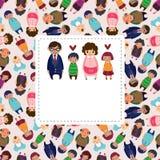 Cartão da família dos desenhos animados Imagem de Stock