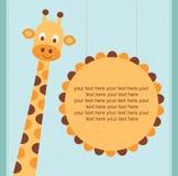 Cartão da festa do bebê/cartão de aniversário com girafa. Fotografia de Stock