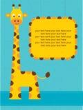 Cartão da festa do bebê/cartão de aniversário com girafa. Imagem de Stock
