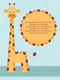 Cartão da festa do bebê/cartão de aniversário com girafa. Foto de Stock