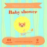 Cartão da festa do bebê com leão bonito Foto de Stock Royalty Free