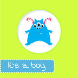 Cartão da festa do bebê com monstro. Seu um menino Imagem de Stock
