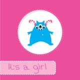 Cartão da festa do bebê com monstro. Seu uma menina Fotos de Stock