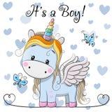 Cartão da festa do bebê com o menino bonito do unicórnio ilustração stock