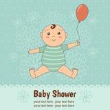 Cartão da festa do bebê com um bebê bonito ilustração royalty free