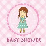 Cartão da festa do bebê com uma menina bonito ilustração royalty free