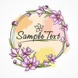 Cartão da flor com teste padrão do círculo da aquarela Imagens de Stock Royalty Free