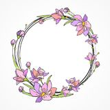 Cartão da flor com teste padrão roxo do círculo Imagens de Stock Royalty Free