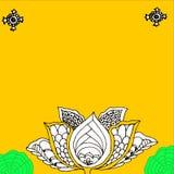 Cartão da flor de Lotus em um fundo amarelo Foto de Stock