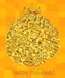 Cartão da garatuja do Natal Foto de Stock Royalty Free
