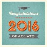 cartão 2016 da graduação com números iluminados famoso Fotografia de Stock