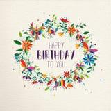 Cartão da grinalda da flor da mola do feliz aniversario ilustração royalty free