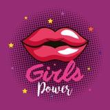 Cartão da menina do poder com bordos da mulher ilustração do vetor