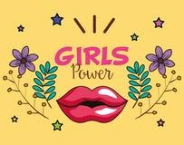 Cartão da menina do poder com bordos da mulher ilustração stock