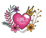 Cartão da menina do poder com coração e coroa ilustração stock