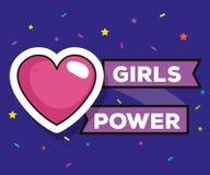 Cartão da menina do poder com coração ilustração stock