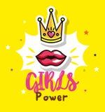 Cartão da menina do poder com coroa da rainha ilustração do vetor