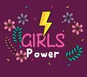 Cartão da menina do poder com raio da energia ilustração royalty free