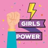 Cartão da menina do poder com raio da energia ilustração do vetor