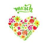 Cartão da mola com coração floral da aquarela Ilustração do dia do dia ou da mulher de Valentim com flores e rotulação do marh Imagens de Stock Royalty Free