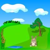 Cartão da mola do cumprimento com uma lebre e as tulipas Imagens de Stock Royalty Free