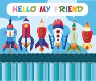 Cartão da nave espacial dos desenhos animados Fotos de Stock Royalty Free