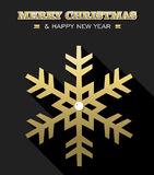 Cartão da neve do floco de neve do ouro do ano novo do Feliz Natal Fotos de Stock