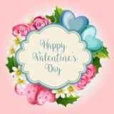 Cartão da neve do Valentim de Florish ilustração do vetor