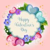 Cartão da neve do Valentim de Florish ilustração royalty free