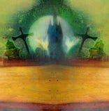 Cartão da noite de Dia das Bruxas - casa assombrada Fotos de Stock Royalty Free